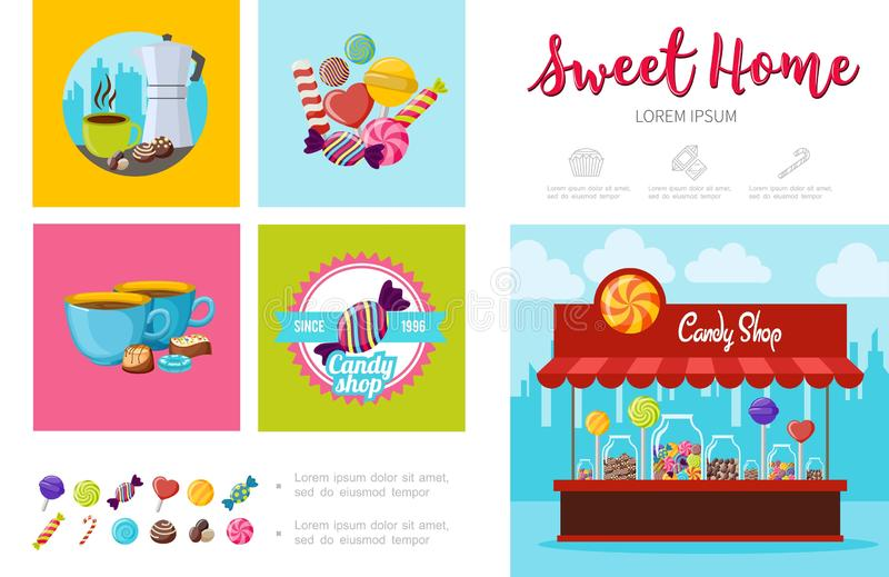 Flat Sweet Products Infographic Template royalty free illustration