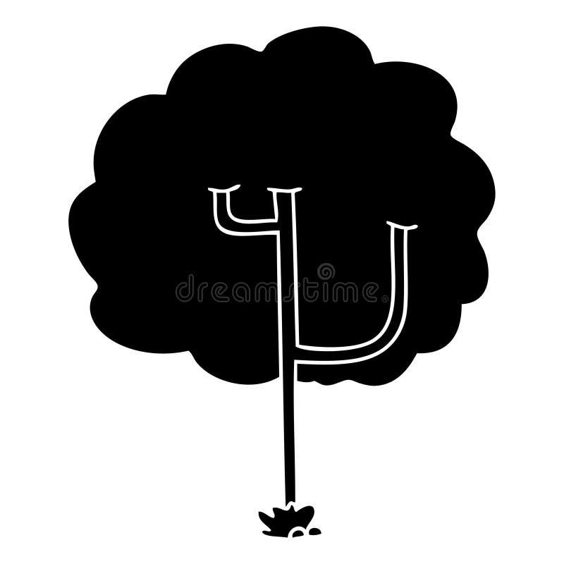 Flat symbol quirky tree. Illustrated flat symbol quirky tree vector illustration