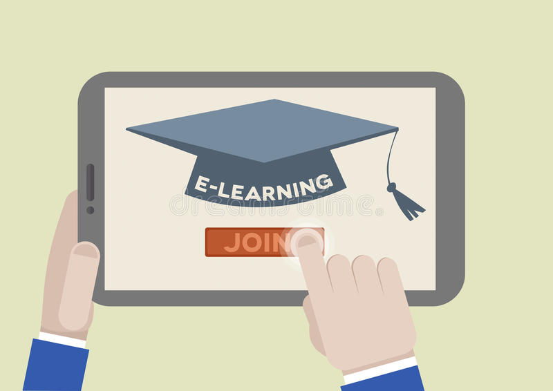 FLAT_tablet_eLearning royalty free illustration