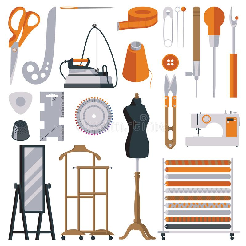 Flat tailor objects set. Collection for creating woman dress and clothes. Seamstress collection vector illustration