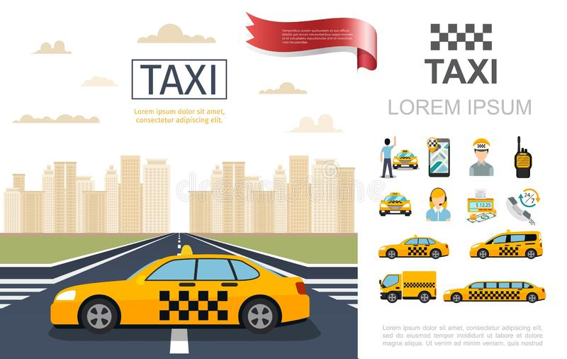 Flat Taxi Service Composition. With taxi cab on road passenger operator driver counter money radio set mobile different cars vector illustration royalty free illustration