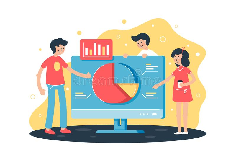 Flat team works on project with help of analytics, computer and diagram in office. vector illustration