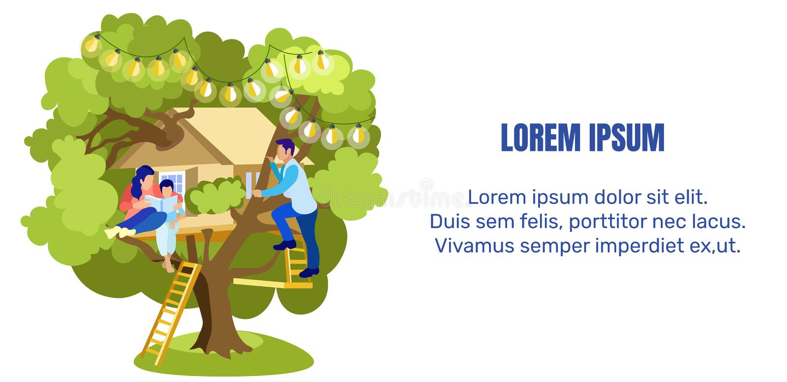 Flat Text Banner with Tree House and Happy Family vector illustration