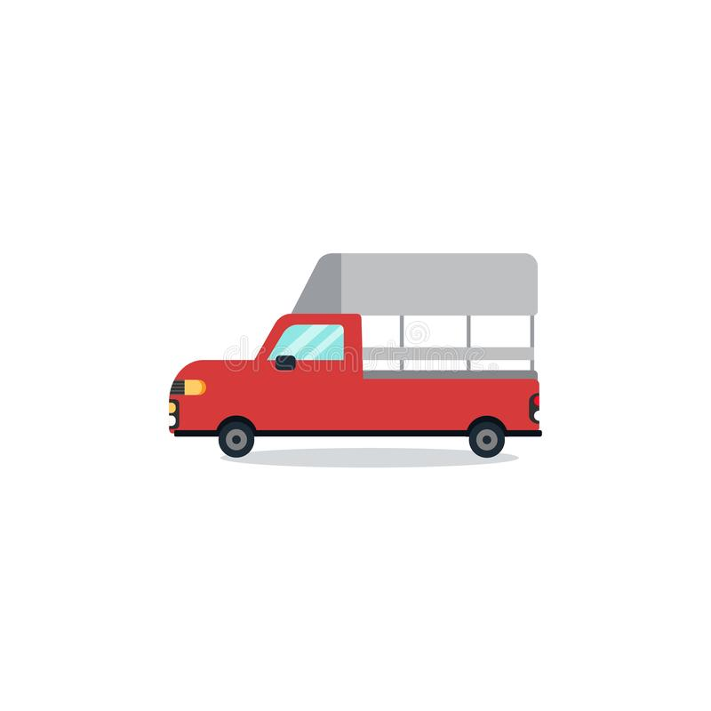 Flat Thai mini red truck cartoon design minimal with white background vector.Red truck flat design stock illustration