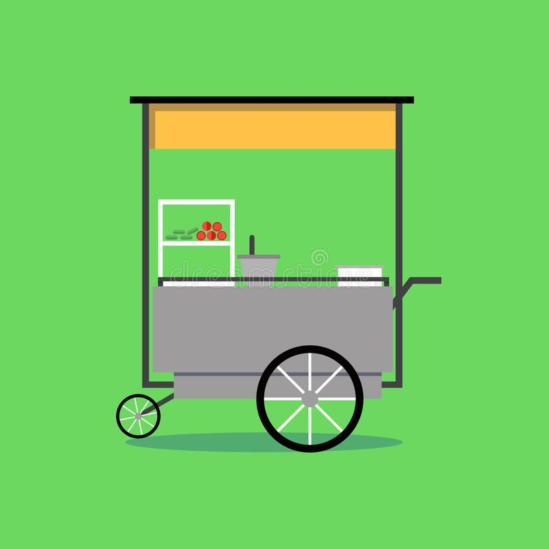 Flat Thai street food vending cart with green background vector royalty free illustration