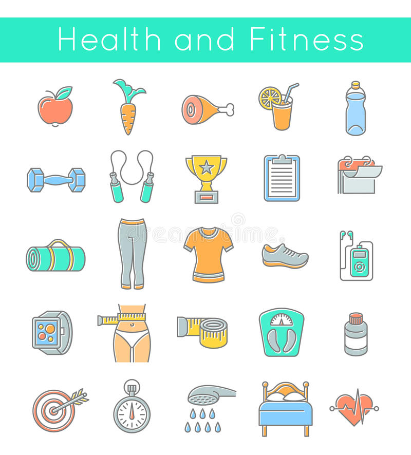 Flat Thin Line Fitness and Wellness Icons. Modern flat linear vector icons of healthy lifestyle, fitness and physical activity. Diet, exercising in a gym vector illustration