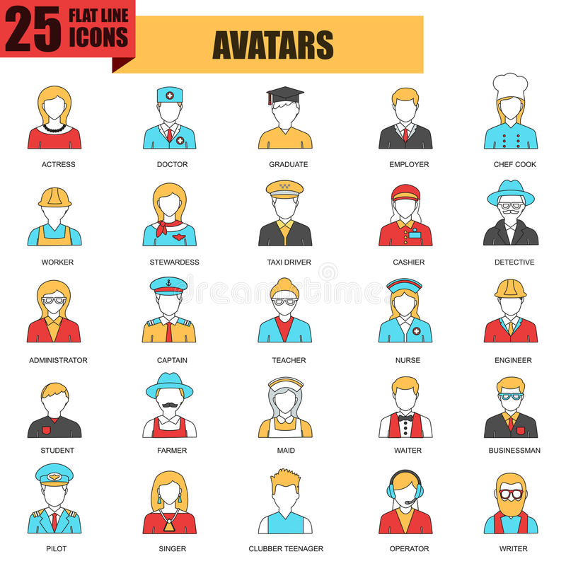 Flat thin line icons collection of people avatars royalty free illustration