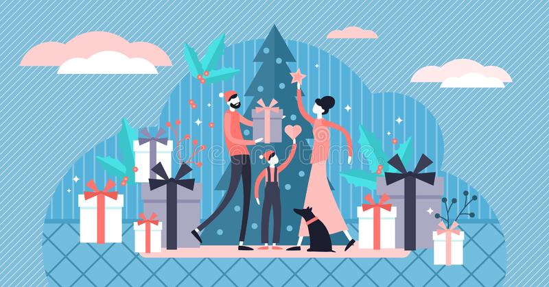 Flat tiny family Christmas vector illustration. Tiny winter persons concept royalty free stock photo