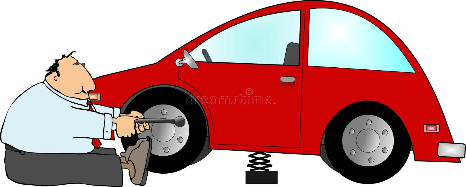 Flat tire vector illustration