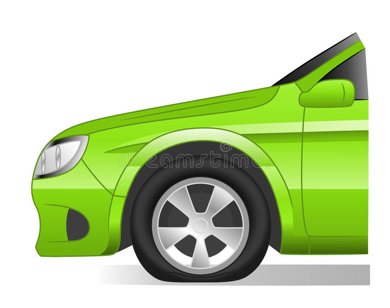 Flat tire. Isolated on white background vector illustration