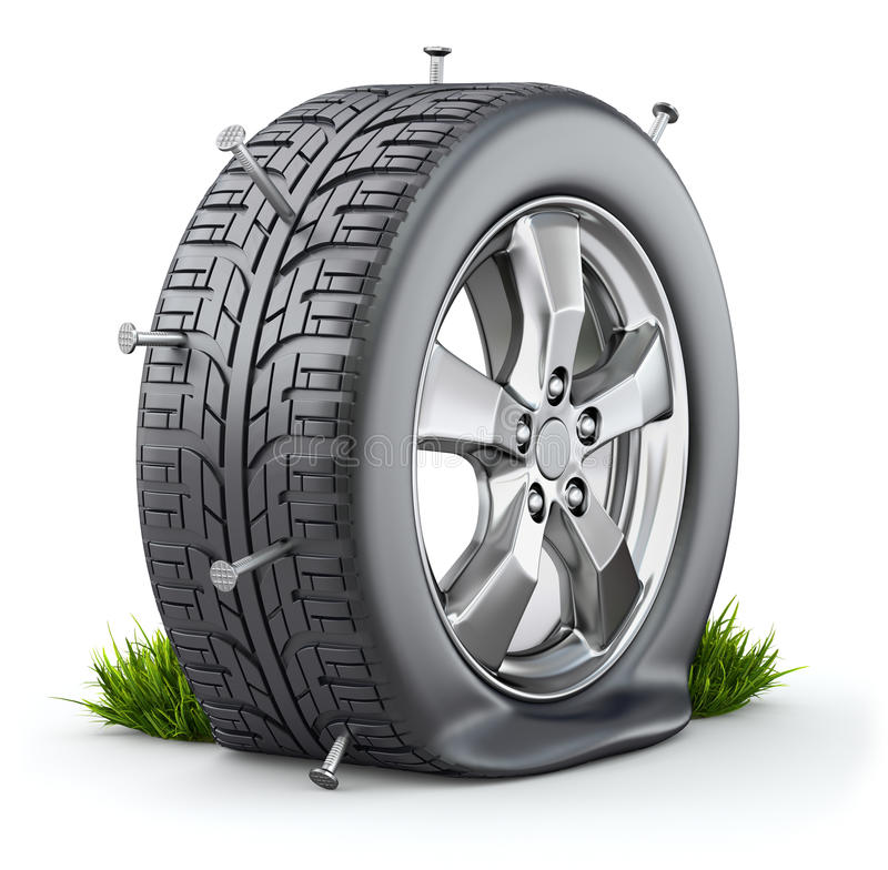 Flat tire. With nails on white background - 3D illustration royalty free illustration