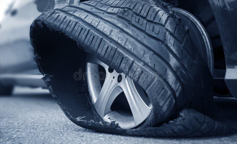 Flat Tire. Photo of a Flat Tire, close up stock photos