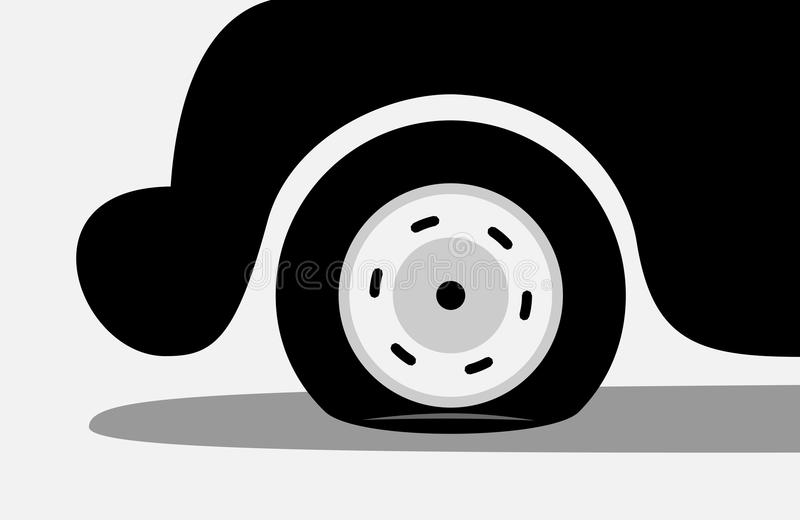 Flat tire / puncture of tyre vector illustration