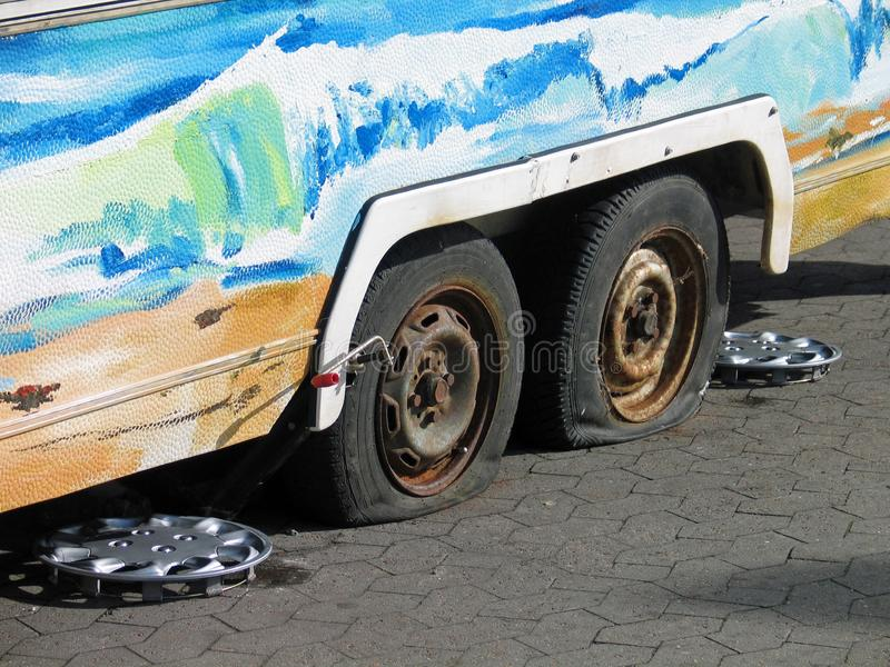 Flat tires stock images