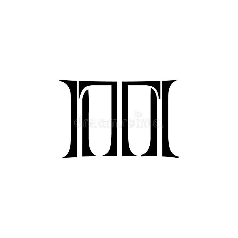 Flat TM Letter logo vector stock illustration