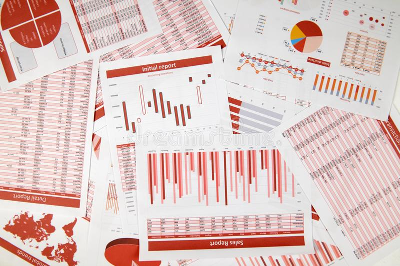 Flat top view of business workspace - reports with data, tables and analytic chart. Business financial accounting concept stock photo