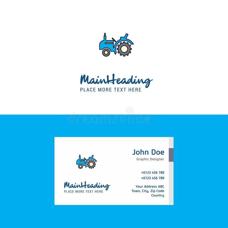 Flat Tractor Logo and Visiting Card Template. Busienss Concept Logo Design stock illustration