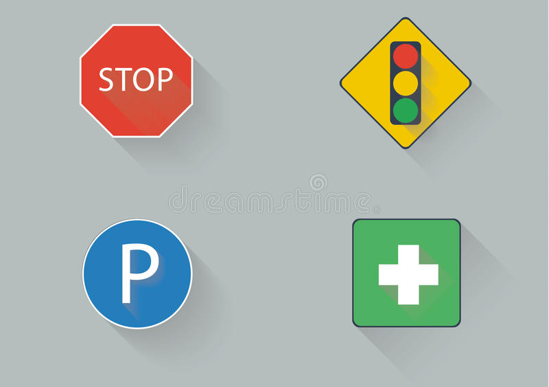 Flat traffic sign royalty free stock image