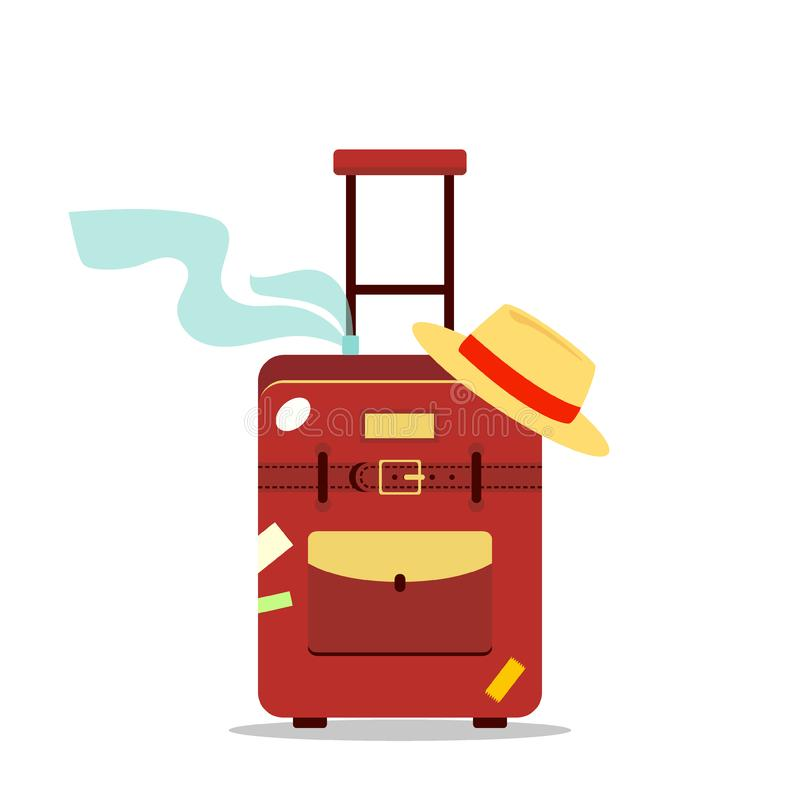 Flat travel bag, scarf and hat isolated on white background - stock illustration. Icon logo tourism, vacation summer concep stock illustration