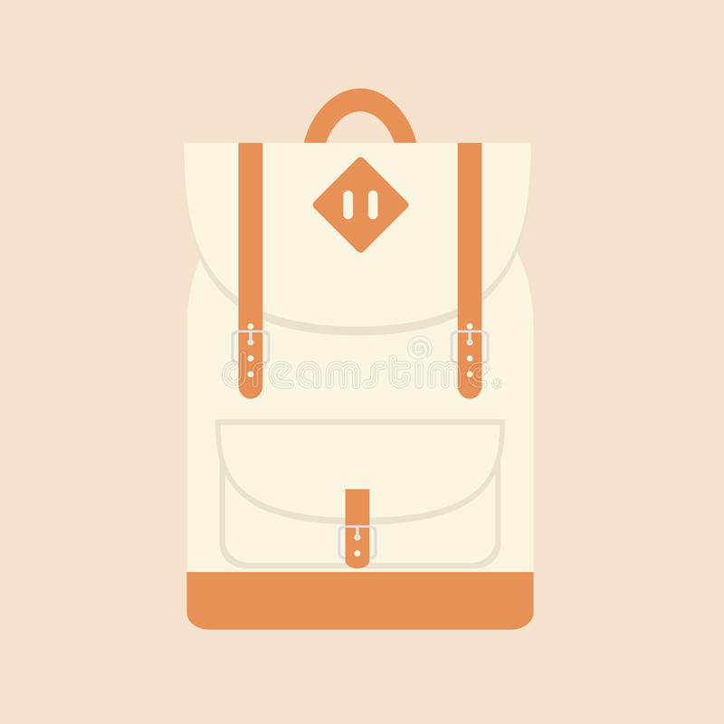 Flat travel and school backpack stock images
