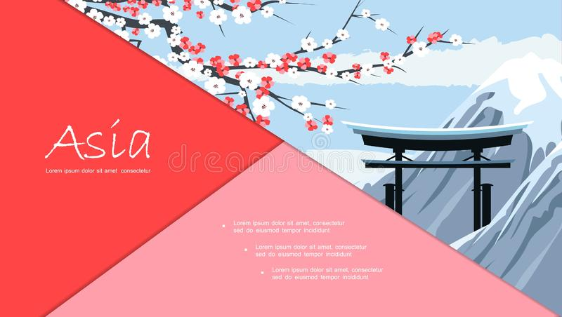 Flat Travel To Japan Composition stock illustration
