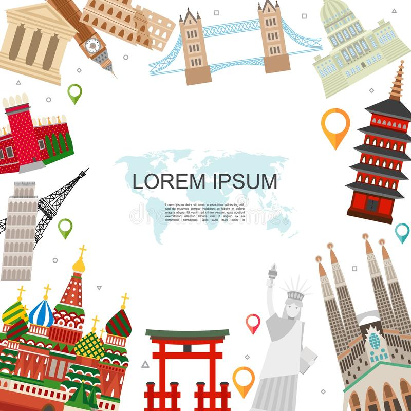 Flat Travel And Tourism Template. With navigation pointers famous world attractions and landmarks vector illustration royalty free illustration