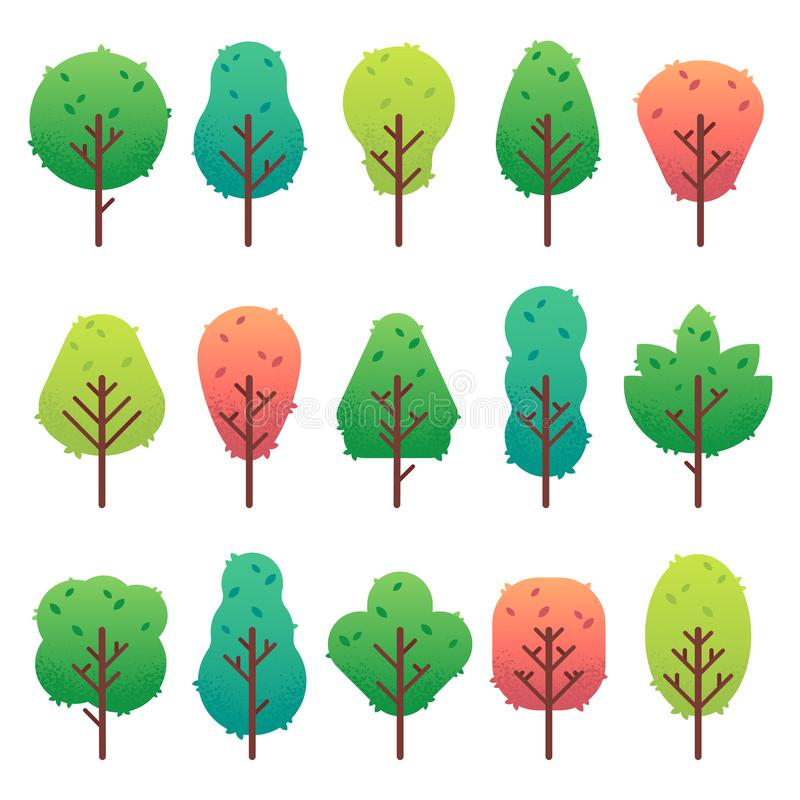 Flat trees set. Garden tree trunk, bush and pine. Nature green landscape vector isolated illustration. Flat trees set. Garden tree trunk, bush and pine. Nature vector illustration