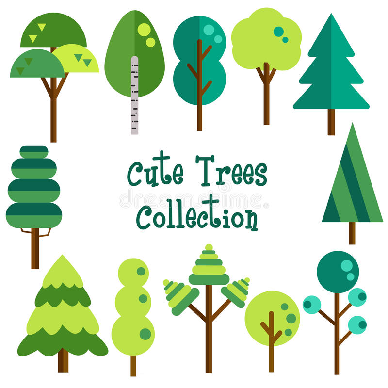 Flat trees vector collection royalty free illustration