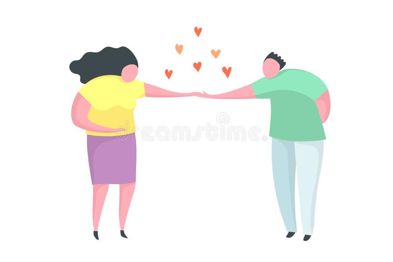 Couple in love man making proposal to a woman. Flat trendy design of happy couple in love, making marriage proposal vector illustration