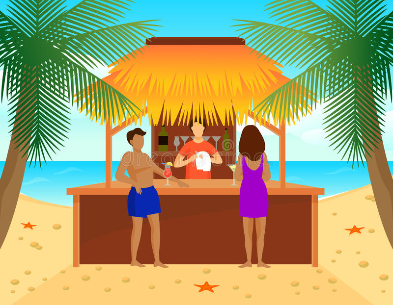 Flat Tropical Beach Bar Concept. With man and woman drinking cocktails and bartender vector illustration royalty free illustration