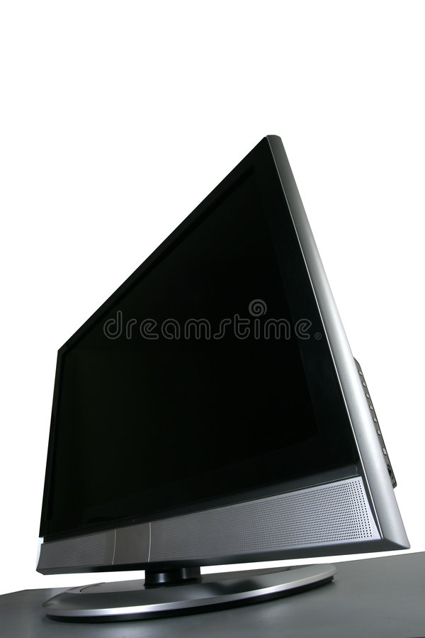 Flat tv. Wide-angle shot of flat tv royalty free stock photo