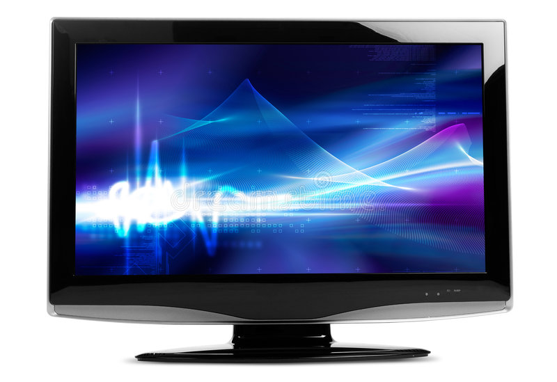 Flat TV. On white background - clipping path included both for contour and display royalty free illustration