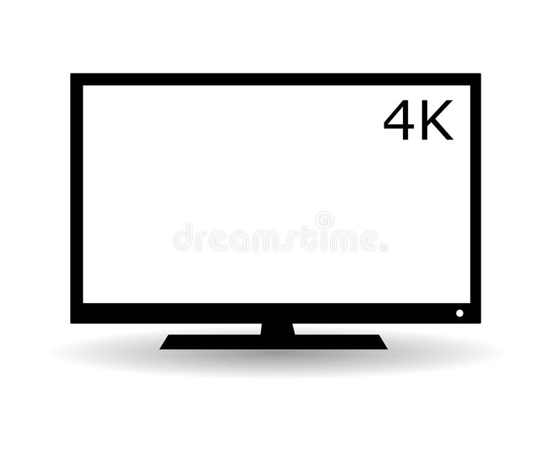 Flat TV icon. Black flat LCD TV vector icon with 4K symbol and shadow royalty free illustration