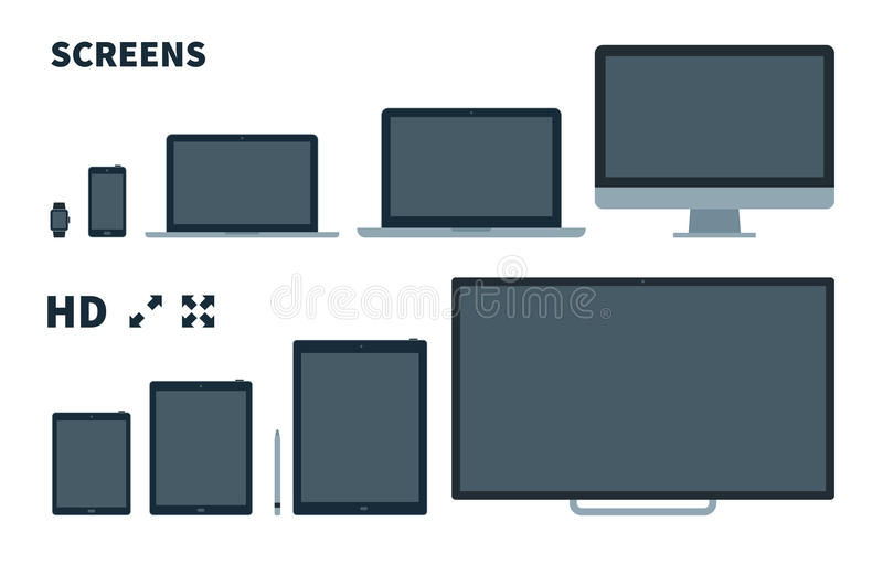 Flat TV screen, phone, monitor, laptop, tablet and. Watch with Full screen icons on white background stock illustration