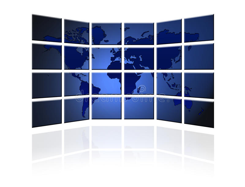 Flat TV screen with world map royalty free illustration