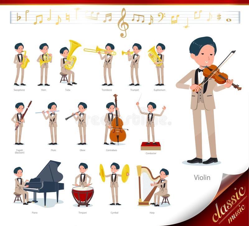 Flat type beige tuxedo men_classic music. A set of tuxedo man on classical music performances.There are actions to play various instruments such as string stock illustration