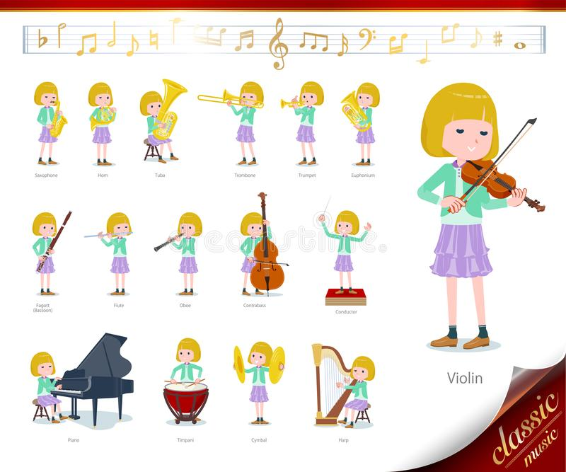 Flat type blond girl white_classic music. A set of girl on classical music performances.There are actions to play various instruments such as string instruments royalty free illustration