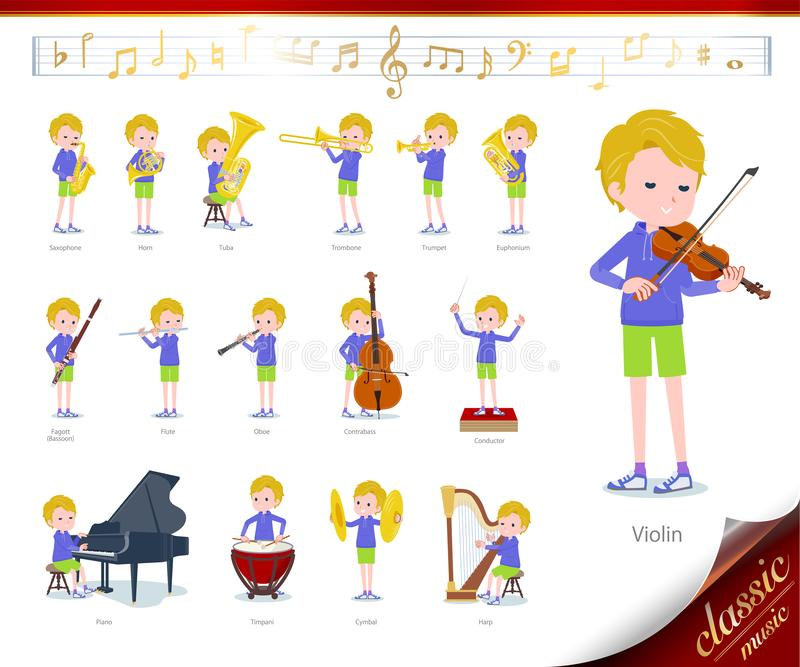 Flat type blond hair boy White_classic music. A set of boy on classical music performances.There are actions to play various instruments such as string stock illustration