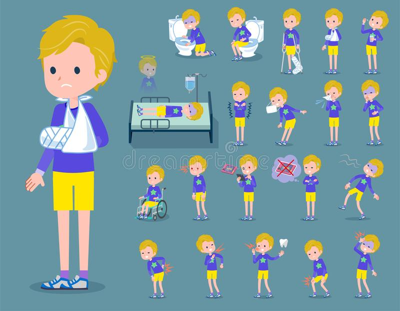 Flat type blond hair boy White_sickness royalty free illustration