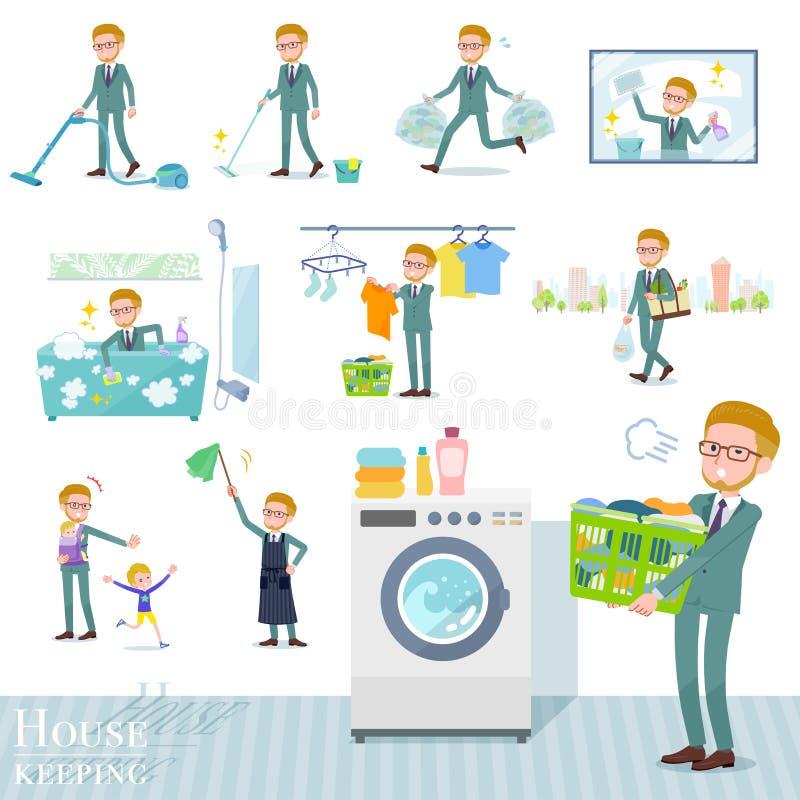 Flat type blond hair businessman_housekeeping royalty free illustration