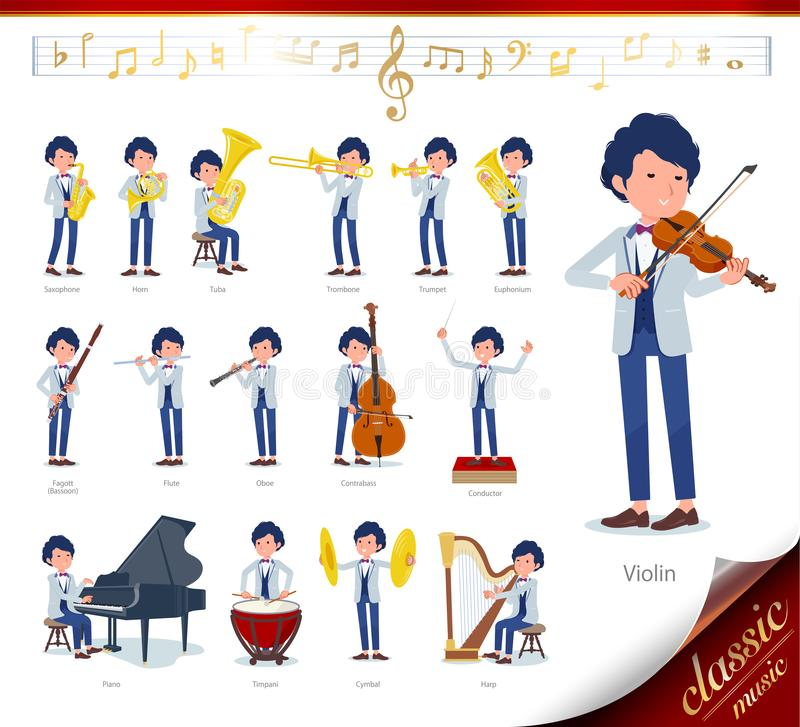 Flat type blue casual tuxedo men_classic music. A set of tuxedo man on classical music performances.There are actions to play various instruments such as string stock illustration