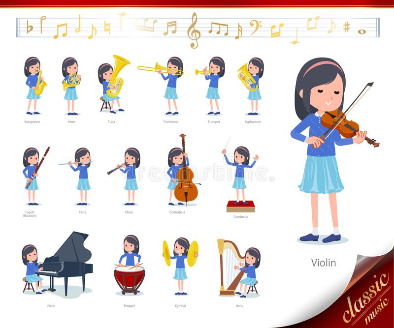 Flat type Blue clothes headband girl_classic music. A set of girl on classical music performances.There are actions to play various instruments such as string royalty free illustration