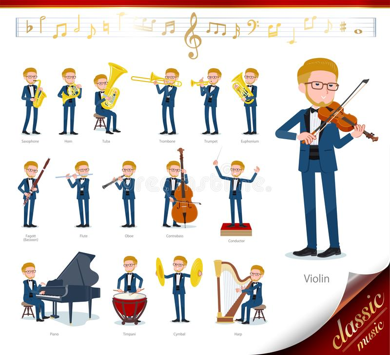 Flat type blue tuxedo men_classic music. A set of tuxedo man on classical music performances.There are actions to play various instruments such as string vector illustration