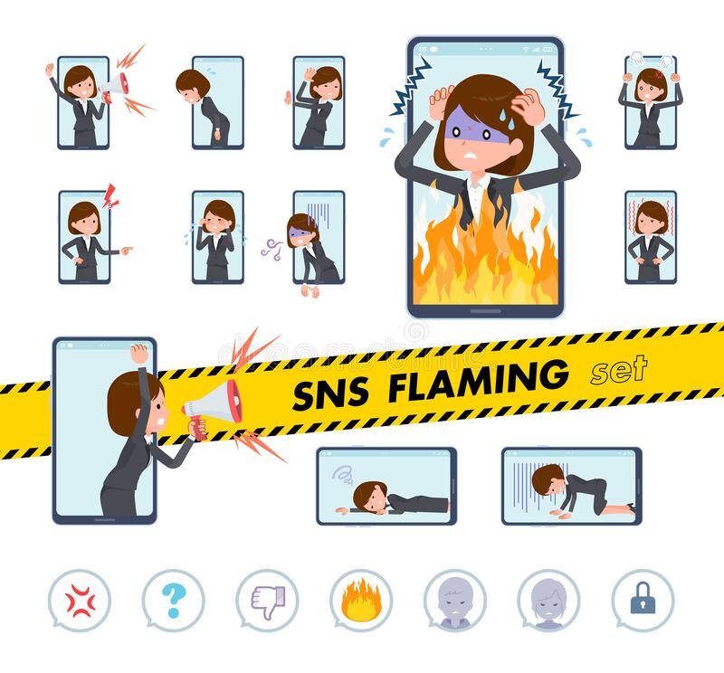 Flat type business women_SNS Flaming. A set of women on social media flaming.There is a pause where you are surprised and tired of being criticized.It`s vector royalty free illustration