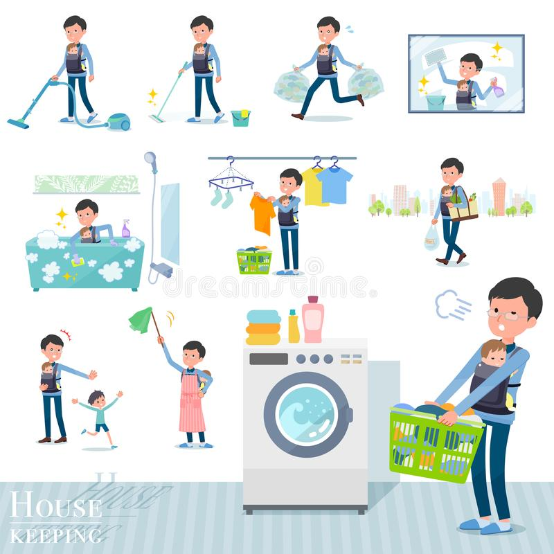 Flat type Dad and baby_housekeeping. A set of man holding a baby related to housekeeping such as cleaning and laundry.There are various actions such as child vector illustration