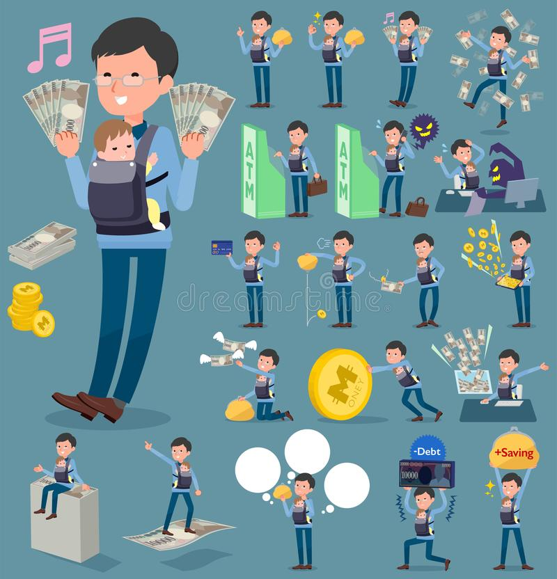 Flat type Dad and baby_money royalty free illustration