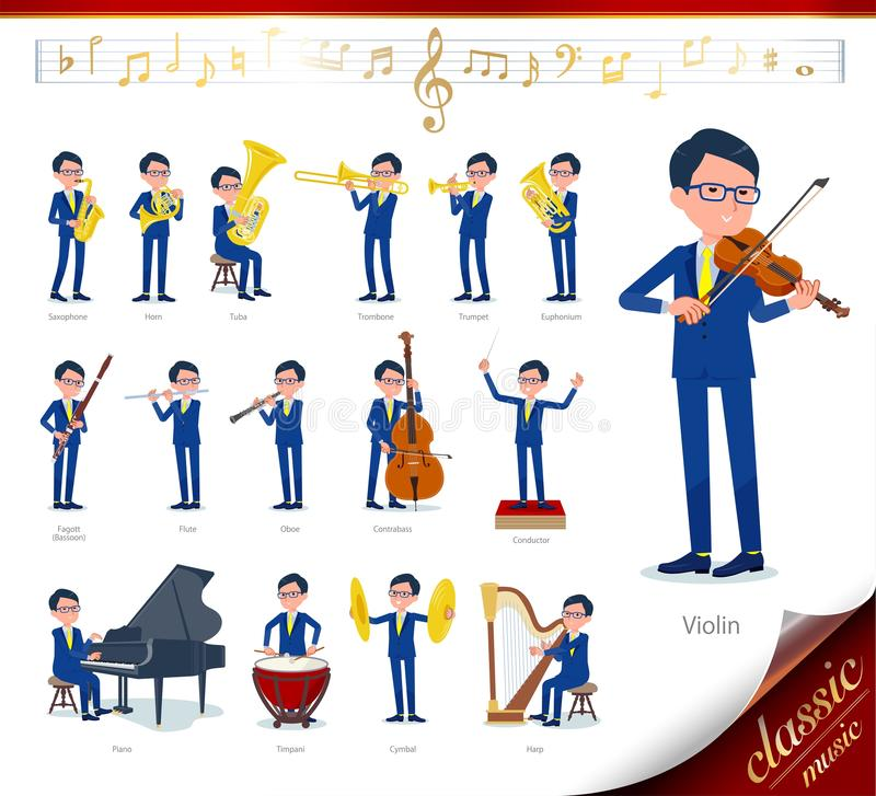 Flat type glasses Honest man_classic music. A set of businessman on classical music performances.There are actions to play various instruments such as string stock illustration