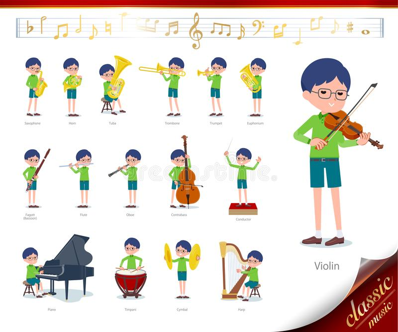 Flat type Green clothing glasses boy_classic music. A set of boy on classical music performances.There are actions to play various instruments such as string royalty free illustration