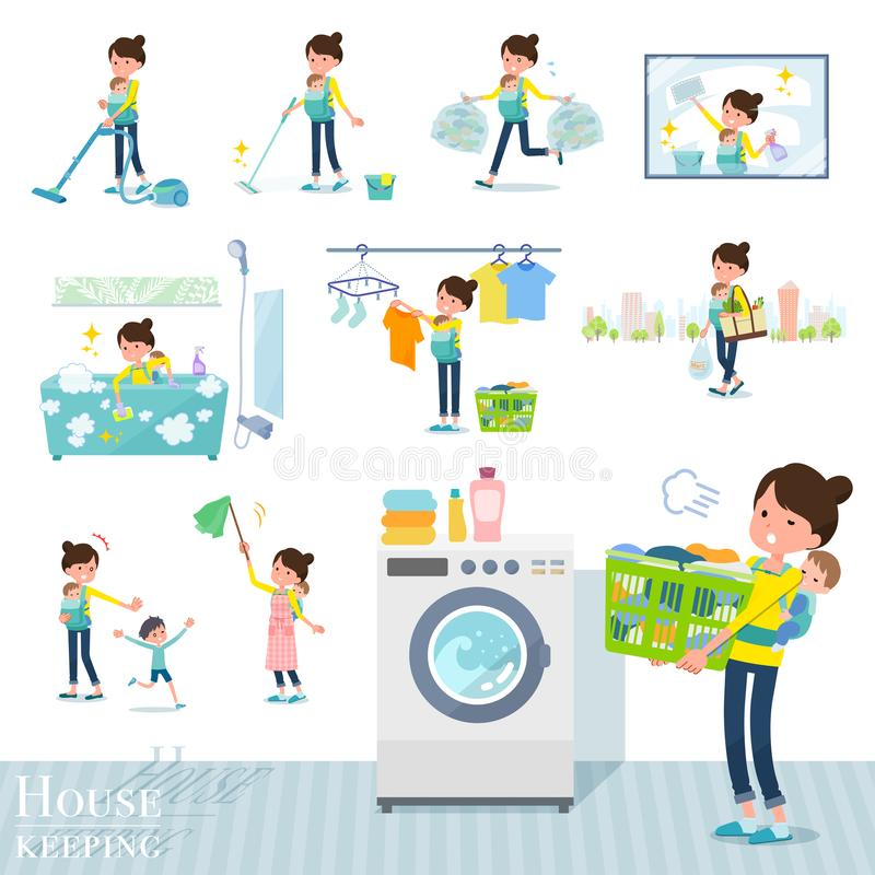 Flat type Mother and baby_housekeeping. A set of woman holding a baby related to housekeeping such as cleaning and laundry.There are various actions such as vector illustration