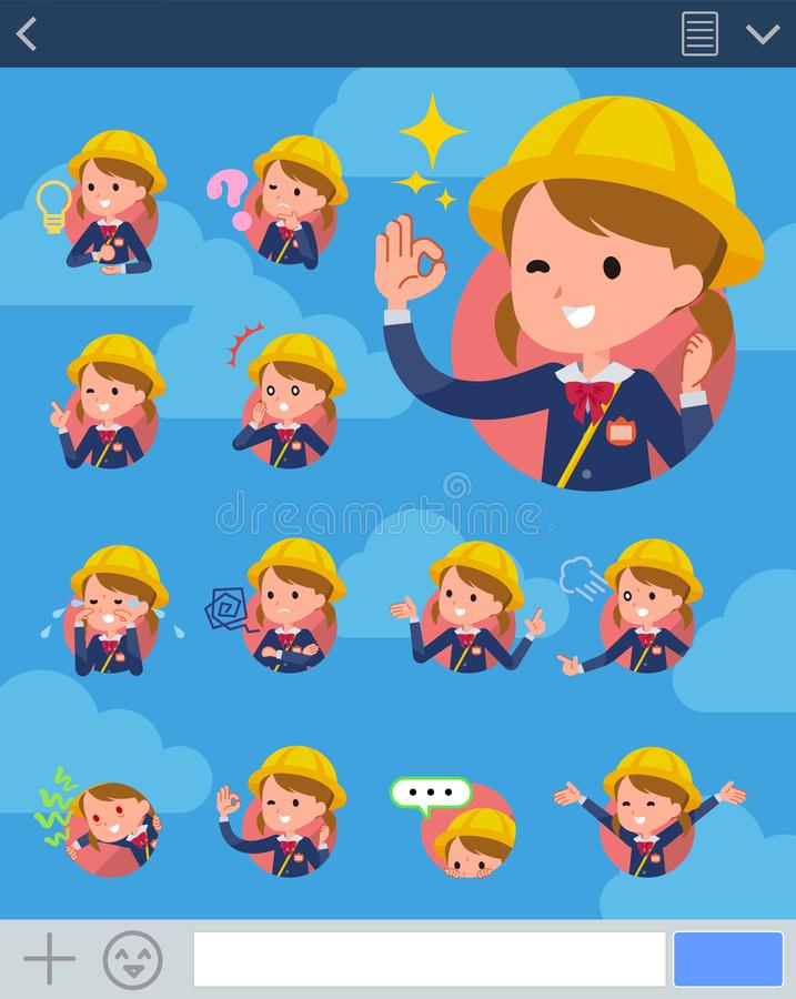 Flat type Nursery school girl_sns stock illustration